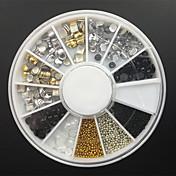 12.-styl slitina nýt + drahokamu + pearl + korálky nail art dekorace