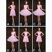 mezclar& vestidos de partido corto / mini vestidos de gasa 6 estilos dama de honor (2839958)