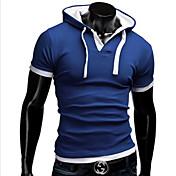 Camisetas ( Algodón Compuesto )- Casual Sudadera Manga Corta