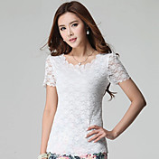 Camisetas ( Algodón Compuesto )- Casual/Tela de Encaje Redondo Manga Corta para Mujer