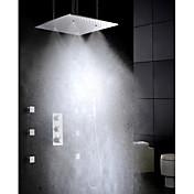 現代風 壁式 サーモスタットタイプ / レインシャワー / ワイドspary / ハンドシャワーは含まれている with  真鍮バルブ 3つのハンドル5つの穴 for  クロム , シャワー水栓