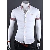 Camisas Casuales ( Algodón/Licra/Poliéster )- Casual/Fiesta/Trabajo Cuello de camisa Manga Corta para Hombre