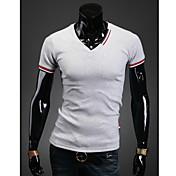 Camisetas ( Algodón/Licra/Poliéster )- Casual/Fiesta/Trabajo Cuello de camisa Manga Corta para Hombre
