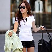 De las mujeres Simple / Chic de Calle Casual/Diario Verano Camiseta,Escote en Pico Un Color Manga Corta AlgodónRojo / Blanco / Verde /