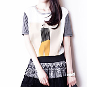 Camisetas ( Algodón )- Casual/Impresión/Fiesta/Trabajo Redondo Manga Corta para Mujer