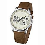 メンズアソートカラー高品質の合金ダイヤル本革バンド防水漫画の水晶腕時計
