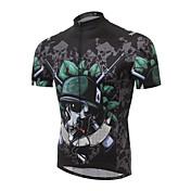 ビブショーツ付きサイクリングジャージー 男性用 半袖 バイク アームウォーマー ジャージー ショートパンツ トップス 洋服セット 透湿性 高通気性 後ポケット モイスチャーコントロール 反射性ストリップ スパンデックス ポリエステル100% スリム スカル 夏