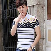 男性用 ストライプ カジュアル Tシャツ,半袖 コットン混,ホワイト