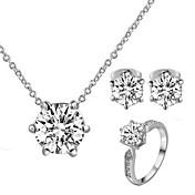 Juego de Joyas Cristal Clásico Cristal Zirconia Cúbica La imitación de diamante Legierung seis Prongs Collares Pendientes ParaBoda Fiesta