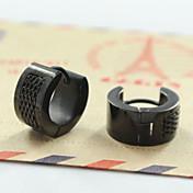 Pendients de aro Acero inoxidable Moda Negro Plata Joyas Diario Casual Deportes 2 piezas