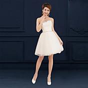 Una línea de amor corto / mini vestido de dama de honor tulle con apliques