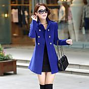 婦人向け 秋 ソリッド コート,ヴィンテージ スタンド ブルー / レッド / グリーン 長袖 薄手