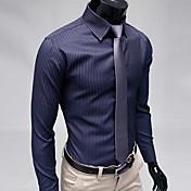 Pánské Proužky Denní nošení / Pracovní / Formální Dlouhý rukáv Polyester Košile Černá / Modrá