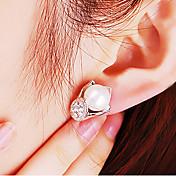 Pendientes cortos La imitación de diamante Legierung Moda Plata Joyas 2 piezas