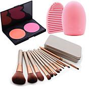 個入り化粧品メイクアップツールアイシャドウチークファンデーションブラシセットボックス+ 2colorsパレット+ 1PCSブラシクリーニングツール赤面します
