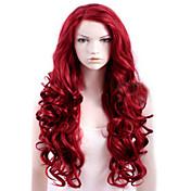 キャップレス赤長めの高品質の天然巻き毛の合成かつら