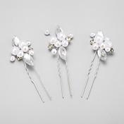 成人用 フラワーガール ラインストーン 合金 人造真珠 かぶと-結婚式 パーティー ヘアピン 3個