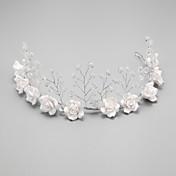 成人用 フラワーガール クリスタル 合金 人造真珠 かぶと-結婚式 パーティー ヘッドバンド 1個