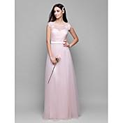 Corte en A Hasta el Suelo Encaje Tul Vestido de Dama de Honor con Encaje por LAN TING BRIDE®