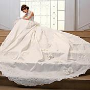 AMGAM ボールガウン ウェディングドレス ビンテージ チャペルトレーン ハイネック サテン とともに ビーズ サッシュ/リボン フラワー