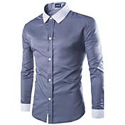 男性用 プレイン カジュアル / オフィス シャツ,長袖 コットン混 ブラック / ブルー / ホワイト / グレー