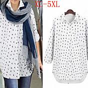 Sexy / Ležérní / Práce Košilový límec - Dlouhé rukávy - ŽENY - Casual Shirts ( Bavlna )