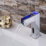 現代風 デッキマウント センサー with  電磁弁 ハンズフリーつの穴 for  クロム , バスルームのシンクの蛇口