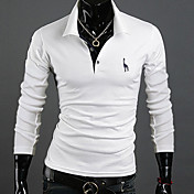 MEN Tシャツ ( コットンブレンド ) カジュアル スタンド - 長袖