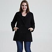 婦人向け 冬 ソリッド コート シャツカラー レッド / ブラック / ブラウン / グリーン ウール / その他 長袖 ミディアム