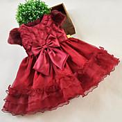 una línea de longitud de la rodilla vestido de niña de flores - cuello joya de organza por la moda hua cheng
