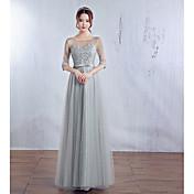 Promoce Formální večer Šaty - Elegantní Plesové šaty Klenot Na zem Satén Tyl s Mašle Krajka
