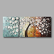 Pintados à mão Abstrato Floral/Botânico Horizontal Panorâmica,Moderno 3 Painéis Pintura a Óleo For Decoração para casa
