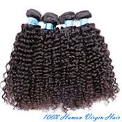 人間の髪編む ブラジリアンヘア Kinky Curly 3個 ヘア織り