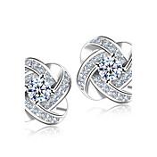 Hombre Mujer Pendientes cortos La imitación de diamante Moda Nupcial Elegant Estilo Simple joyería de disfraz Plata de ley Cristal