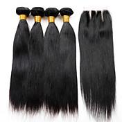 Trama del pelo con cierre Cabello Peruano Recto 18 Meses 5 Piezas los tejidos de pelo