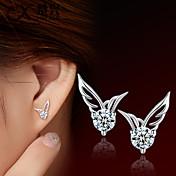 Sitne naušnice Moda Slatka Style Kristal Glina Wings / Perje Pink Jewelry Za Vjenčanje Party Dnevno Kauzalni 2pcs