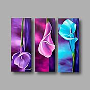 Pintada a mano Abstracto Floral/Botánico Horizontal,Modern Tres Paneles Lienzos Pintura al óleo pintada a colgar For Decoración hogareña