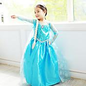 Cosplay Kostumer Prinsesse Eventyr Film Cosplay Blå Kjole Halloween Jul Nytår Barn Chiffon