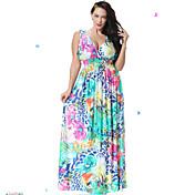 vestido dulce curva de la mujer patinador playa, floral v profunda maxi sin mangas azul del resorte del spandex
