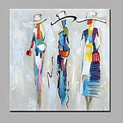 Pintada a mano Personas Cuadrado,Modern Un Panel Lienzos Pintura al óleo pintada a colgar For Decoración hogareña