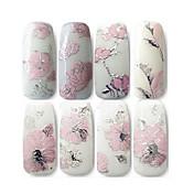 3d nehty samolepky s vyraženým růžových květů designu Nail Art obtiskem tipy nálepky list manikúru