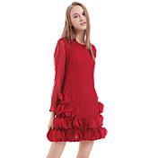 De las mujeres Vaina Vestido Casual Un Color Sobre la rodilla Escote Redondo Poliéster