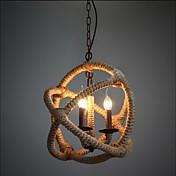 Retro 3 Lamp Hemp Rope Chandelier Retro Country Style