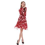 Vestido tubo floral casual / día boutiques s de las mujeres, cuello Ruff por encima de la rodilla de poliéster