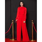 Funda / Columna Cuello Alto Hasta el Suelo Raso Baile de Promoción Evento Formal Vestido con Lazo(s) por TS Couture®