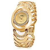 女性用 ファッションウォッチ ブレスレットウォッチ クォーツ ステンレス バンド エレガント腕時計 シルバー ゴールド
