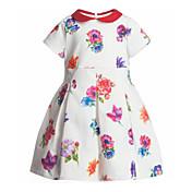 Pigens Kjole Polyester Blomstret Sommer Flerfarvet