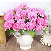 7 hoveder høj kvalitet gyldne krysantemum blomster silke blomst silke blomst kunstige blomster til boligindretning 1pc / sæt