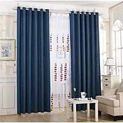 2パネル 田舎風 / 欧風 純色 ブラック / ブルー リビングルーム リネン 遮光カーテンドレープ