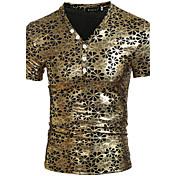 Masculino Camiseta Poliéster Cor Solida Manga Curta Casual / Esporte-Dourado / Prateado